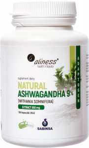 Natural Ashwaganda 590 mg 9% 100 Vege caps.